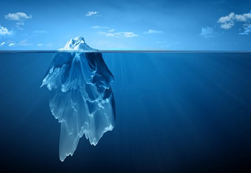 Large Iceberg with Most of it Submerged in Ocean with Small Tip Above Water|Energy Healing